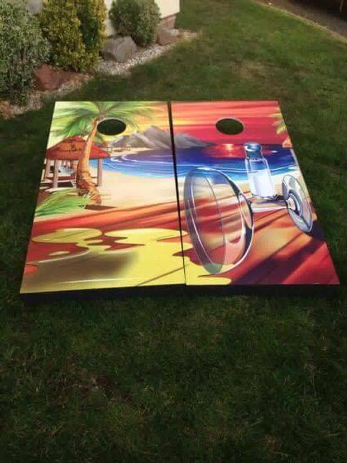 Large beach and cocktail Cornhole boards and 8 x throwing bags