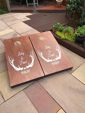 Large stained personalised cornhole boards and 8 x throwing bags