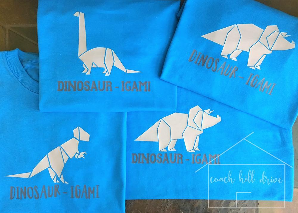 Custom Party Favor Dinosaur-igami Shirts