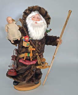OLD WORLD SANTA w/Antique Doll