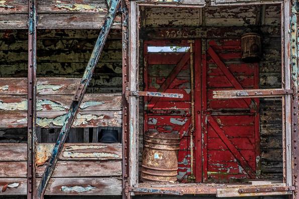 Derelict railway box car