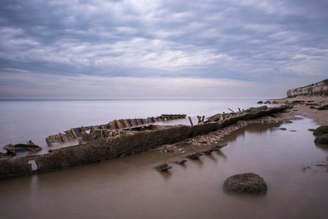 Wreck on Old Hunstanton beach at low tide