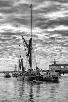 Thames barge at sunrise