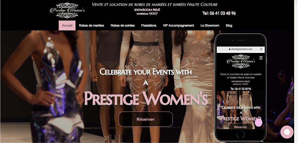 Prestige Women's, showroom privé, location, dépôt/vente robes de soirées, robes de mariées Haute Couture sur Marseille 13007