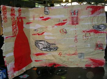 parois papiers robe rouge