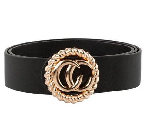 Gold C Buckle Black Belt