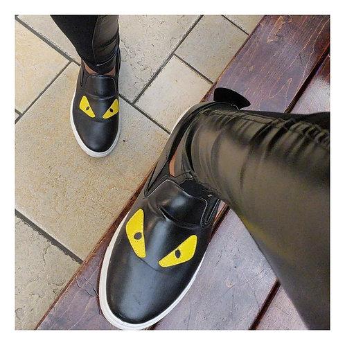 Black & Yellow Flat Sneaker