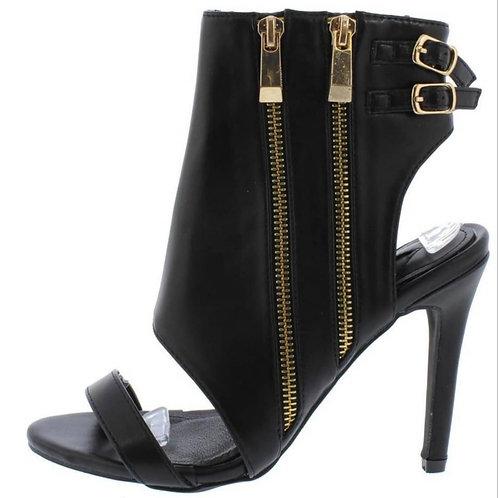 Black Heel, Toe Open Bootie