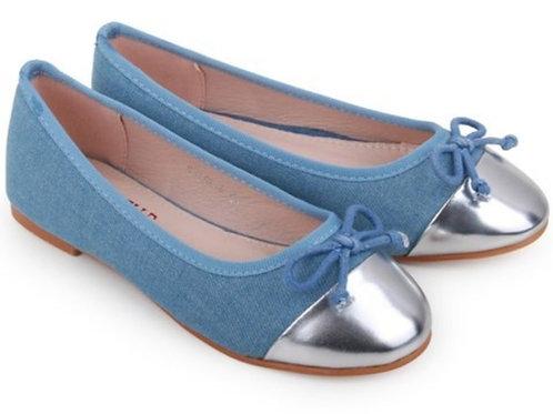 Silver Toe Denim Flats