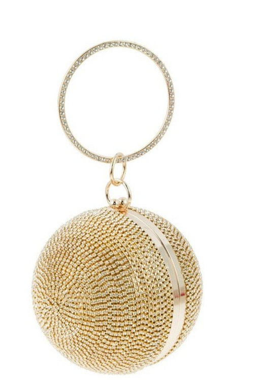 Gold Rhinestone Ball Clutch