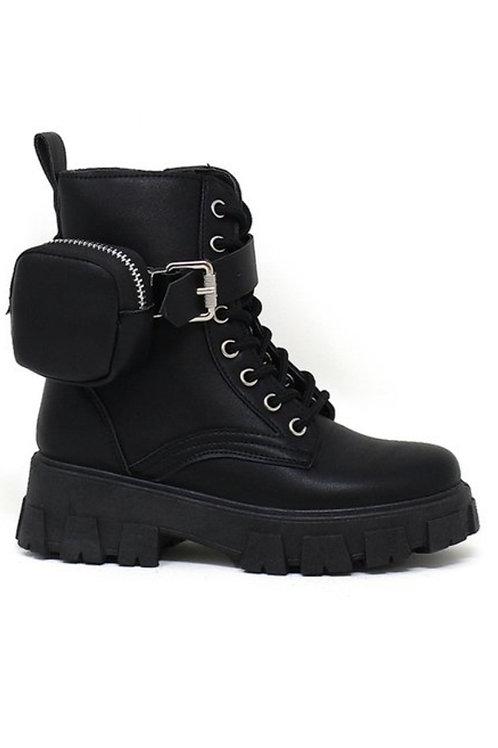 Girls Black Boot w/ Pouch