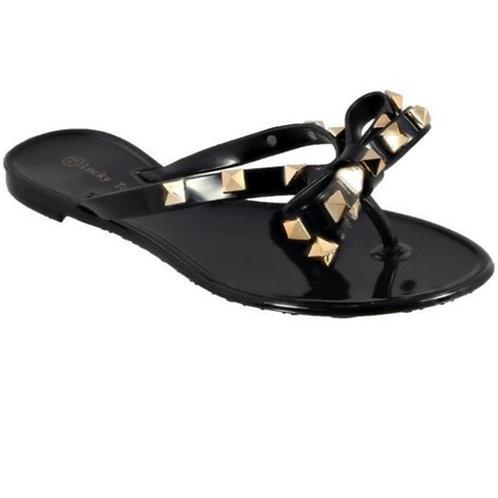 Girla Gold Studded Flip Flops
