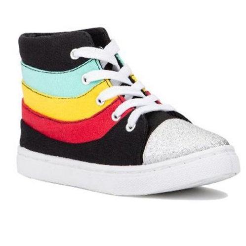 High Top Silver Toe Sneaker