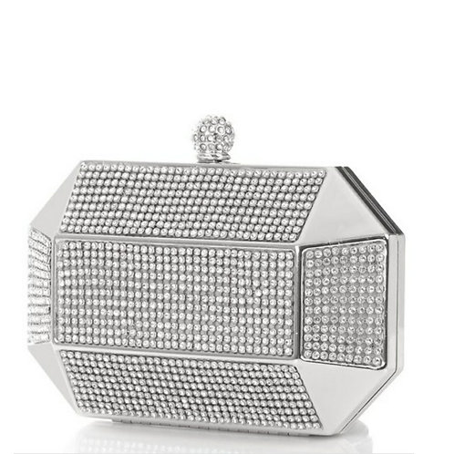 Silver Hexagon Clutch