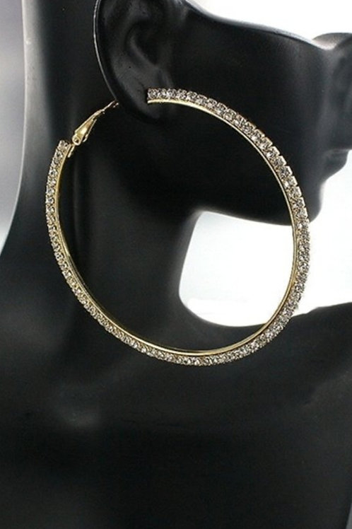 Big Rhinestone Hoop Earrings