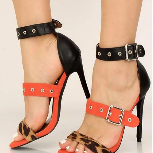 Leopard Black Red 3 Strap Stilletos