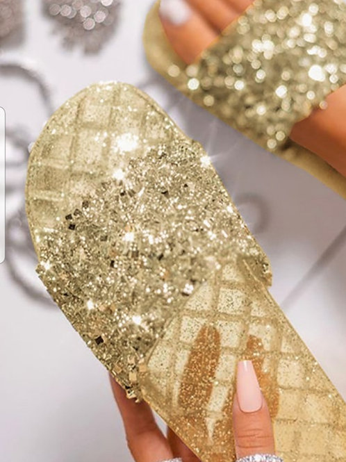 Soft Gold Crystal Slides