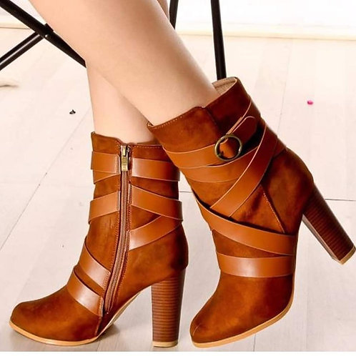 Brown Stappy Ankle Boots