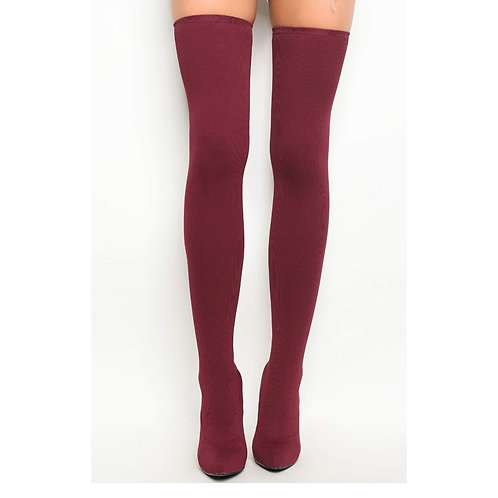 Wine Color Thigh High Boot