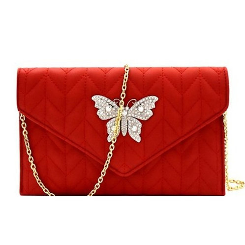 Butterfly Red Clutch