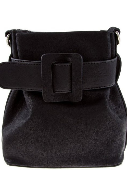 Black Buckle Bucket Bag