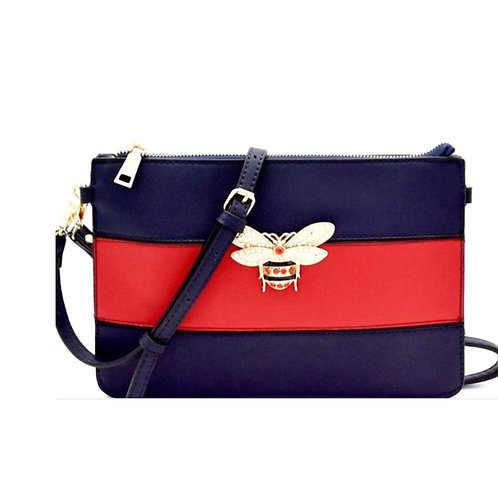 Red Blue Bumble Bee Crossbody