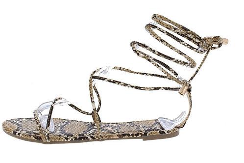 Tan Snakeskin Sandal