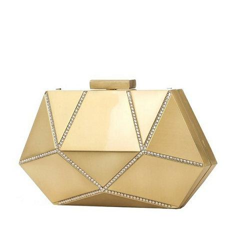 Gold Hexagon Dressy Clutch