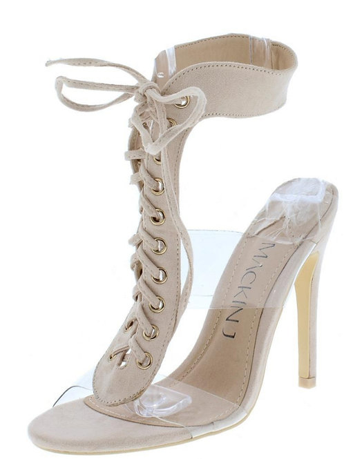 Nude & Clear Lace-Up Stilleto
