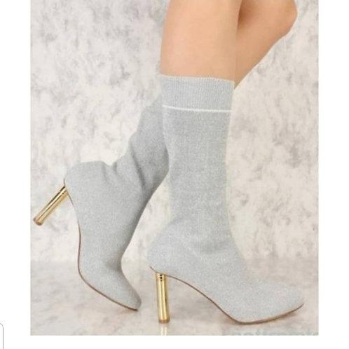 Gold Heel Sock Bootie