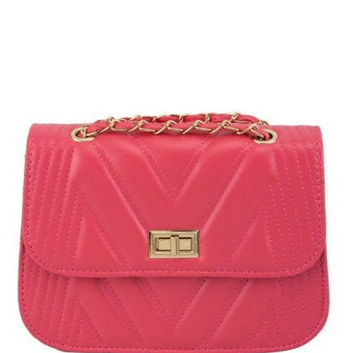 Coral Handbag w/ Gold Chain