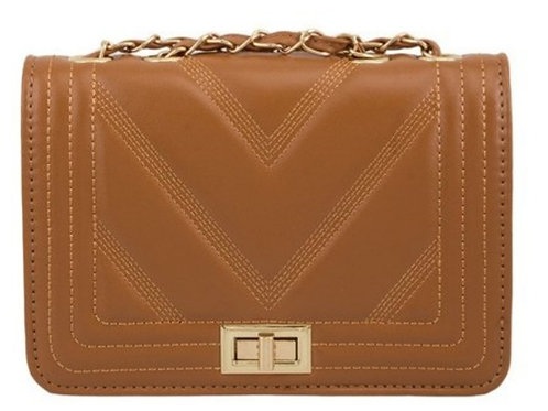 Tan Front Flap Crossbody