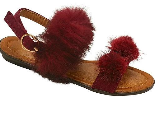 Burgandy Fur Sandal
