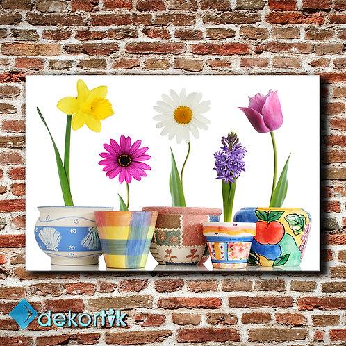 Floral Dekoratif Saksı Tablo