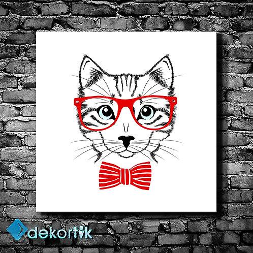 Gözlüklü Kedi Tablo