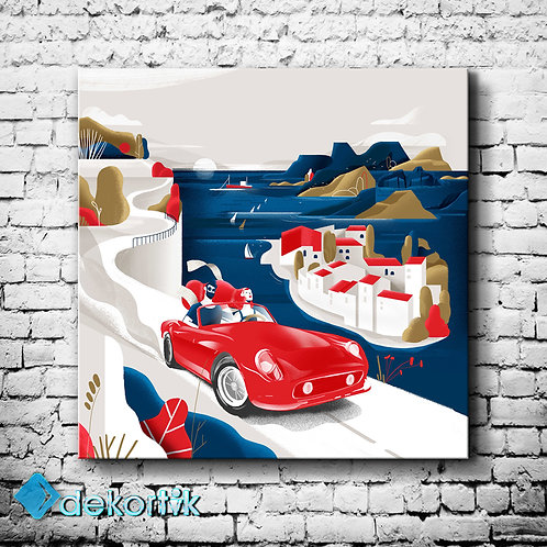 Red Car Kanvas Tablo