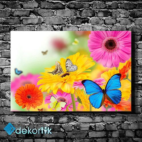 Çiçekler ve Kelebekler Kanvas Tablo