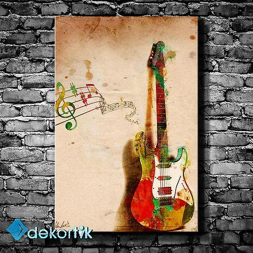 Gitar Notalar Kanvas Tablo