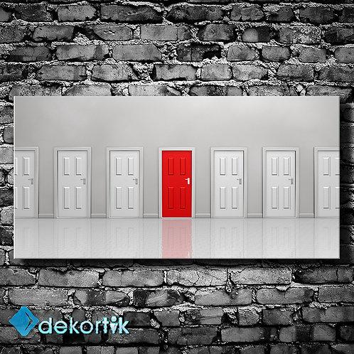 Pano Kırmızı Kapı Kanvas Tablo