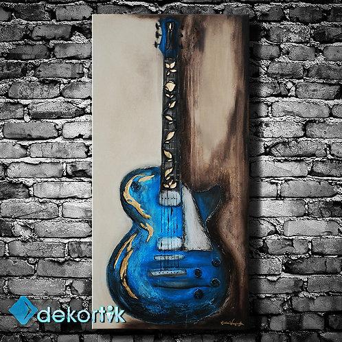 Dikey Mavi Gitar Kanvas Tablo