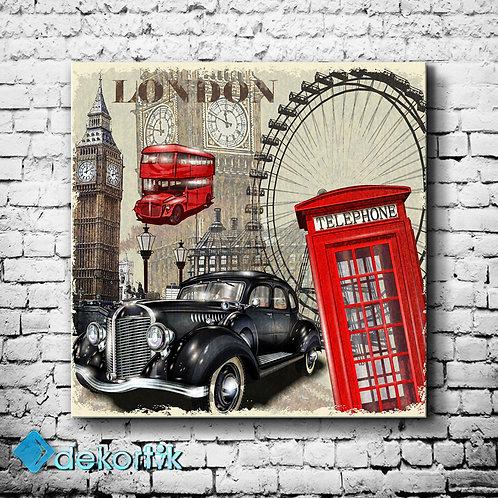 Vintage London Kanvas Tablo