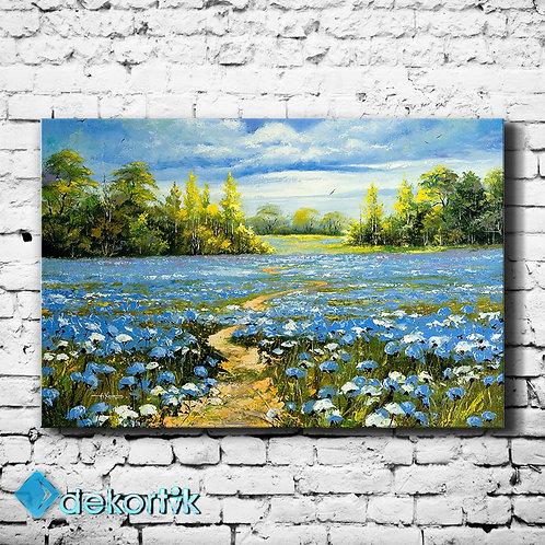 Floral Blue Oil Tablo