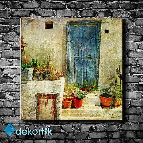 Mavi Kapı Kanvas Tablo