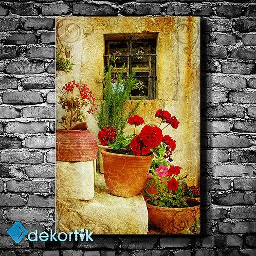 Saksı Çiçek Kanvas Tablo