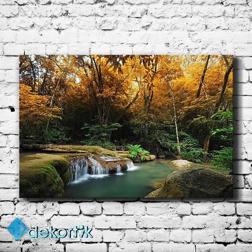Orman Gölet Kanvas Tablo