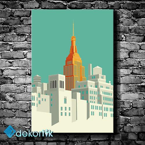 Çizgi NYC Kanvas Tablo