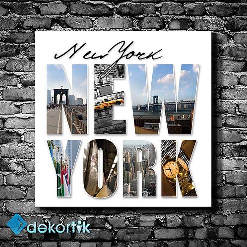 New York Tipografi Kanvas Tablo