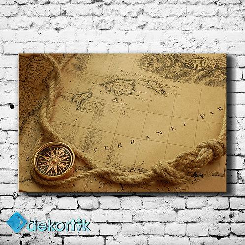 Harita Pusula Kanvas Tablo