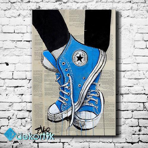 Blue Shoe Paper Kanvas Tablo