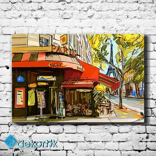 Paris Cafe Çizgi Tablo